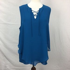 Dana Buchman Blue Lace Up Layered Tank Top